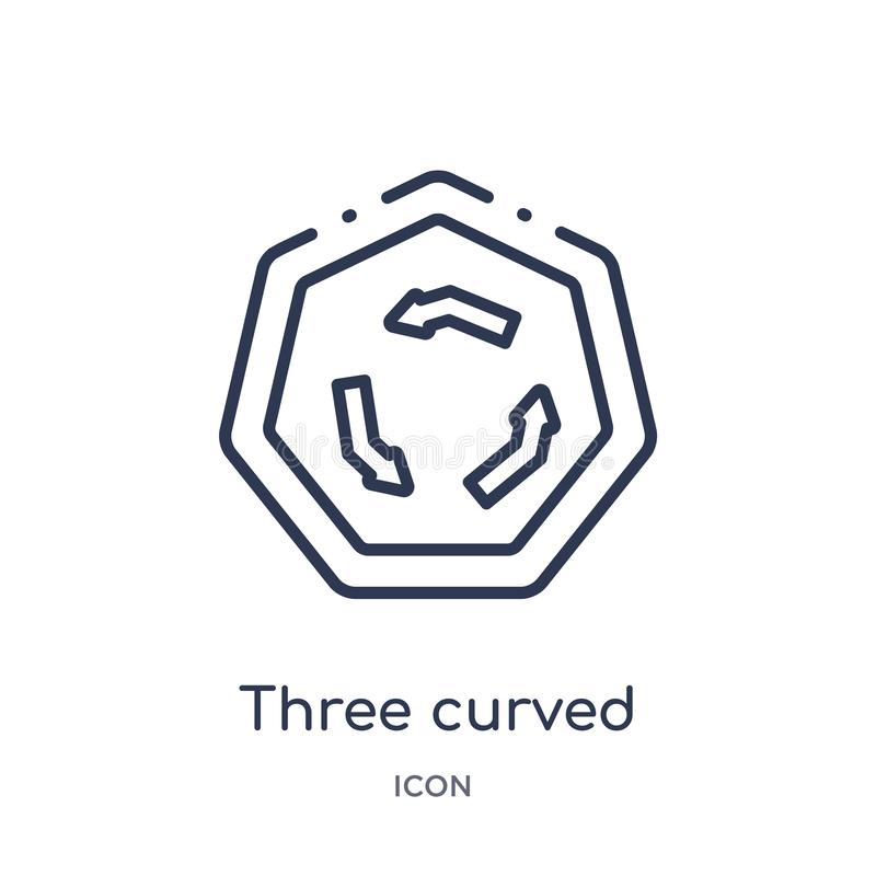Linear three curved arrows icon from Arrows outline collection. Thin line three curved arrows vector isolated on white background royalty free illustration