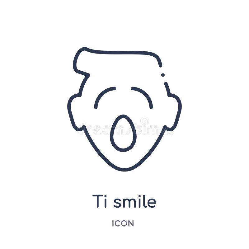Linear ti smile icon from Emoji outline collection. Thin line ti smile vector isolated on white background. ti smile trendy royalty free illustration