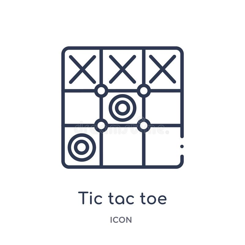 Linear tic tac toe icon from Entertainment and arcade outline collection. Thin line tic tac toe vector isolated on white stock illustration