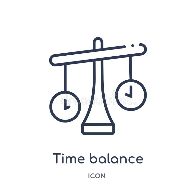 Linear time balance icon from Human resources outline collection. Thin line time balance icon isolated on white background. time royalty free illustration