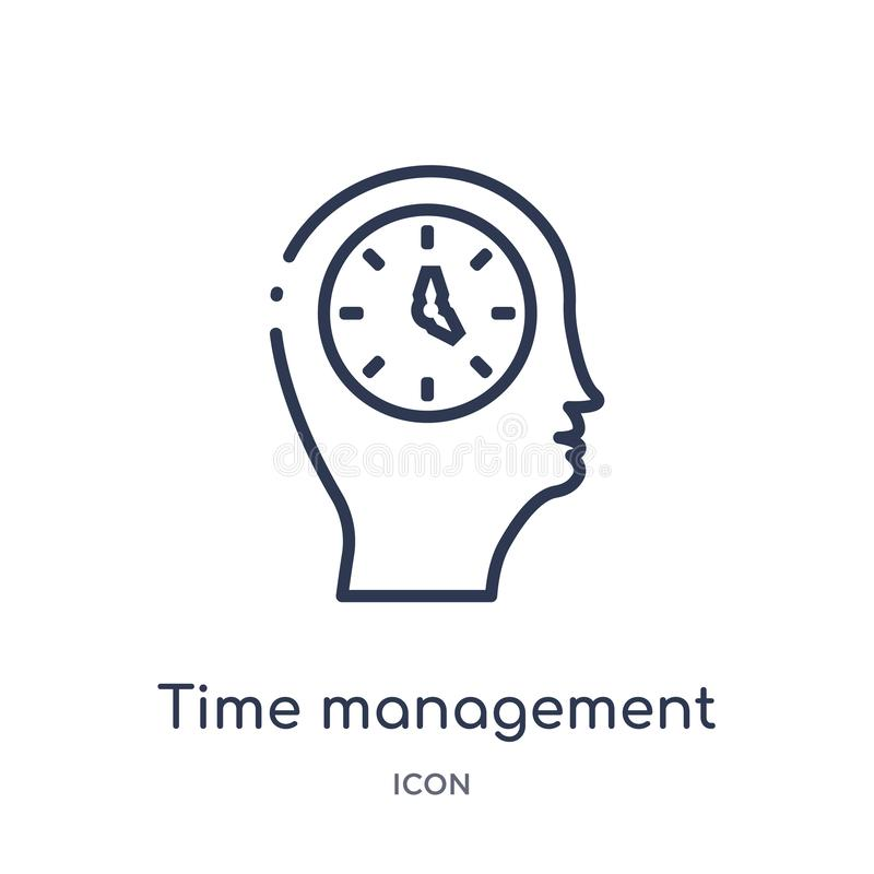Linear time management icon from Brain process outline collection. Thin line time management vector isolated on white background. vector illustration