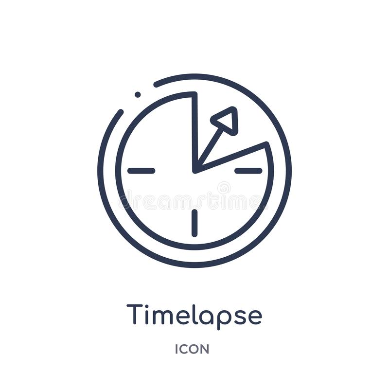 Linear timelapse icon from Art outline collection. Thin line timelapse icon isolated on white background. timelapse trendy royalty free illustration