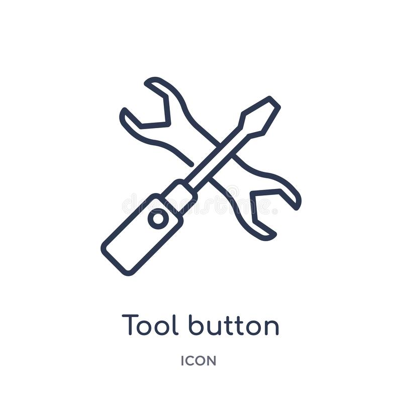 Linear tool button icon from Business outline collection. Thin line tool button icon isolated on white background. tool button vector illustration