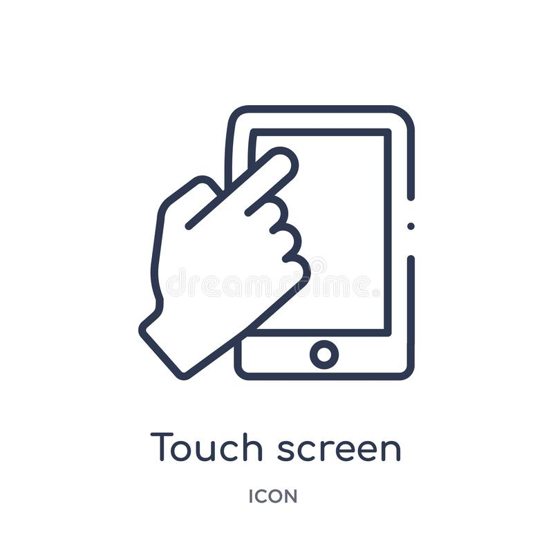 Linear touch screen icon from Artifical intelligence outline collection. Thin line touch screen vector isolated on white. Background. touch screen trendy vector illustration