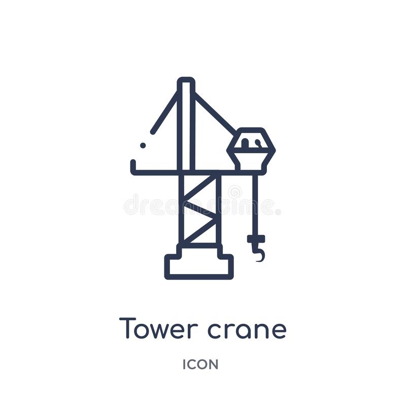 Linear tower crane icon from City elements outline collection. Thin line tower crane vector isolated on white background. tower royalty free illustration