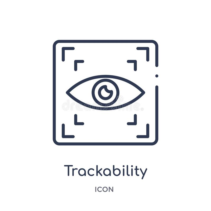 Linear trackability icon from General outline collection. Thin line trackability icon isolated on white background. trackability. Trendy illustration stock illustration