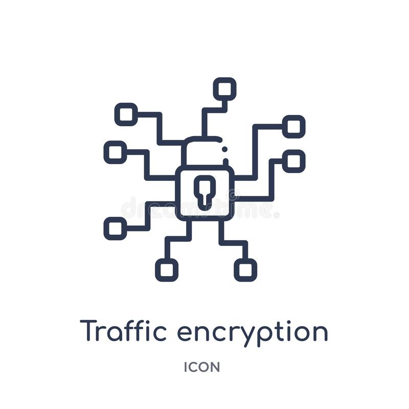 Linear traffic encryption icon from Internet security and networking outline collection. Thin line traffic encryption icon. Isolated on white background stock illustration