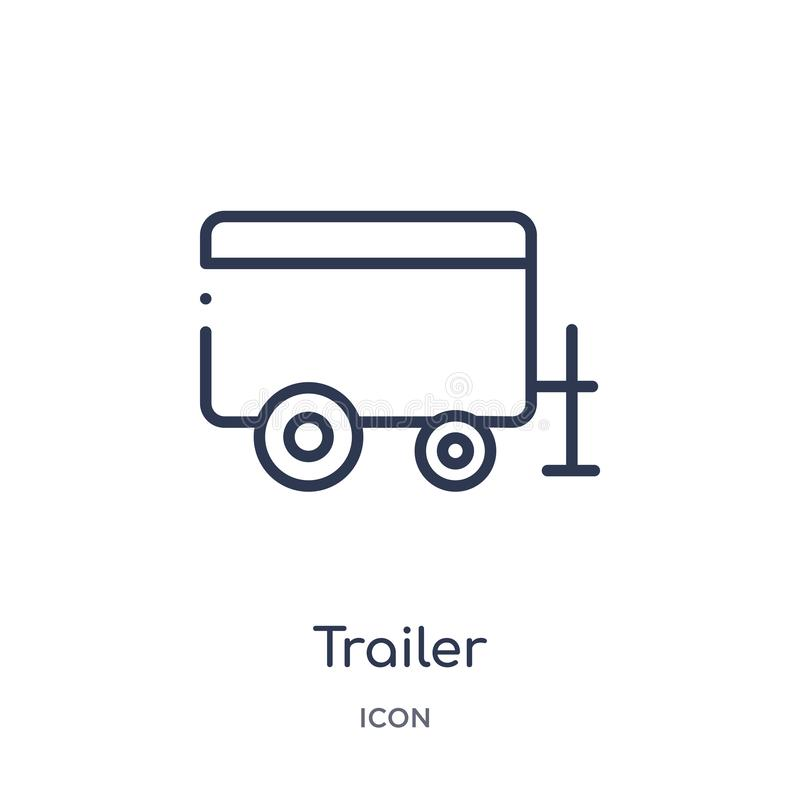 Linear trailer icon from Agriculture farming and gardening outline collection. Thin line trailer vector isolated on white. Background. trailer trendy vector illustration