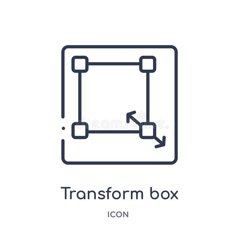Linear transform box icon from Edit outline collection. Thin line transform box vector isolated on white background. transform box stock illustration