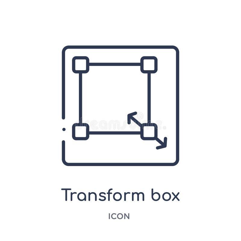 Linear transforme el icono de la caja de corrigen la colección del esquema La línea fina transforma vector de la caja aislada en  stock de ilustración