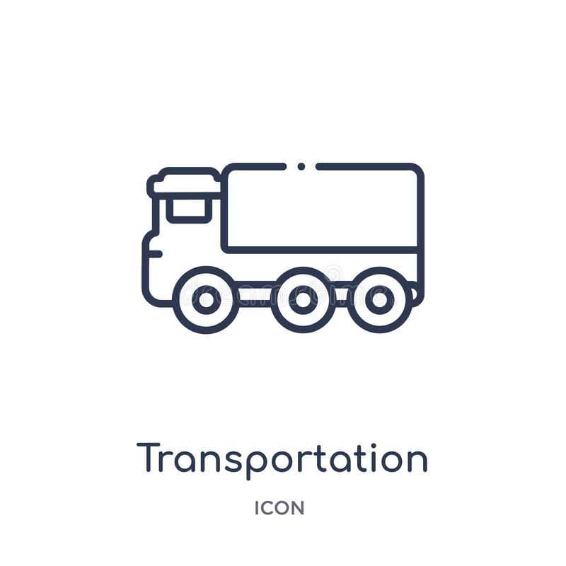 Linear transportation truck icon from Mechanicons outline collection. Thin line transportation truck icon isolated on white vector illustration