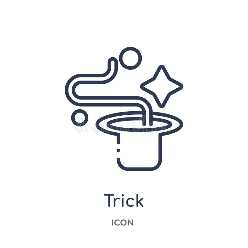 Linear trick icon from Magic outline collection. Thin line trick icon isolated on white background. trick trendy illustration vector illustration
