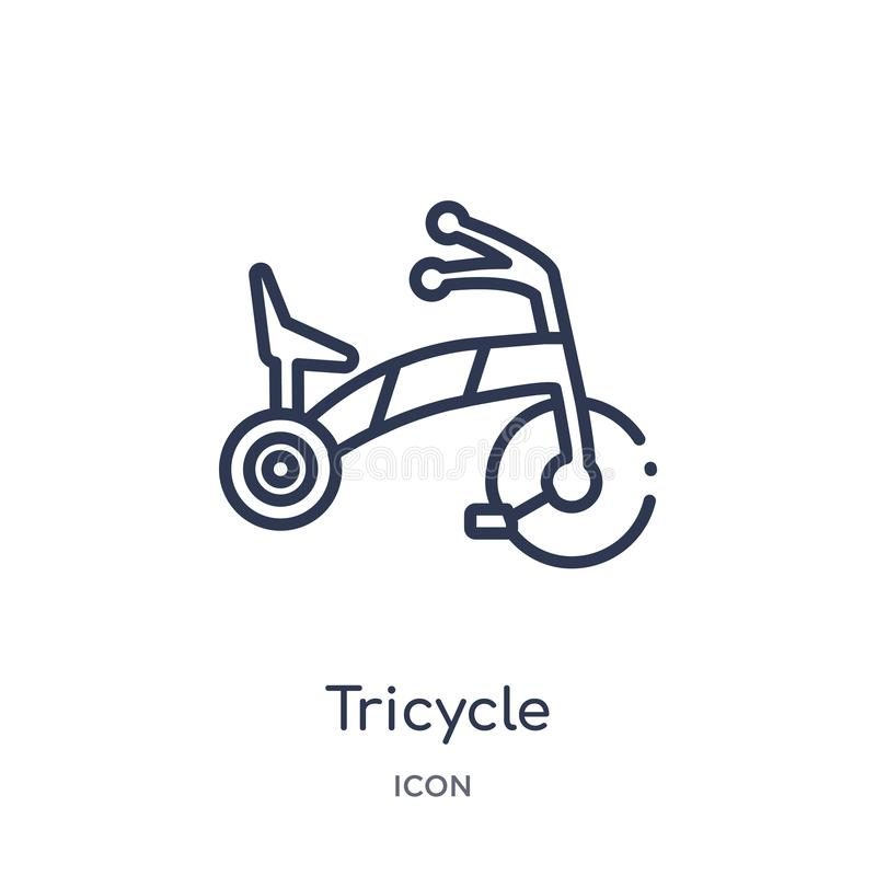 Linear tricycle icon from Kid and baby outline collection. Thin line tricycle icon isolated on white background. tricycle trendy vector illustration