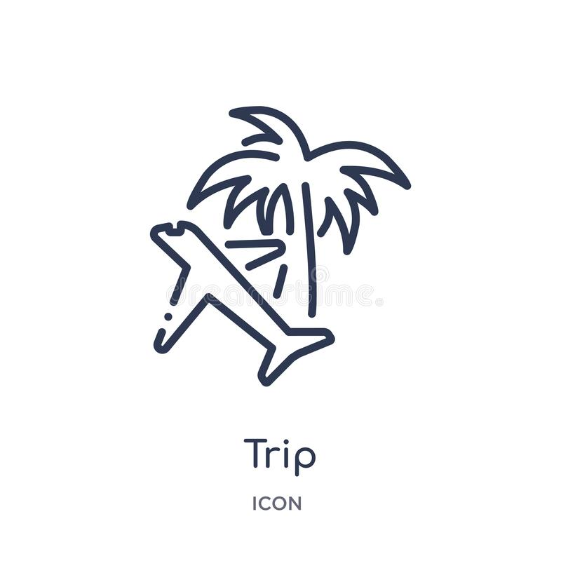 Linear trip icon from Airport terminal outline collection. Thin line trip vector isolated on white background. trip trendy vector illustration