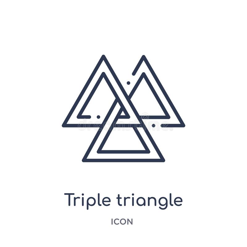 Linear triple triangle icon from Geometry outline collection. Thin line triple triangle icon isolated on white background. triple royalty free illustration