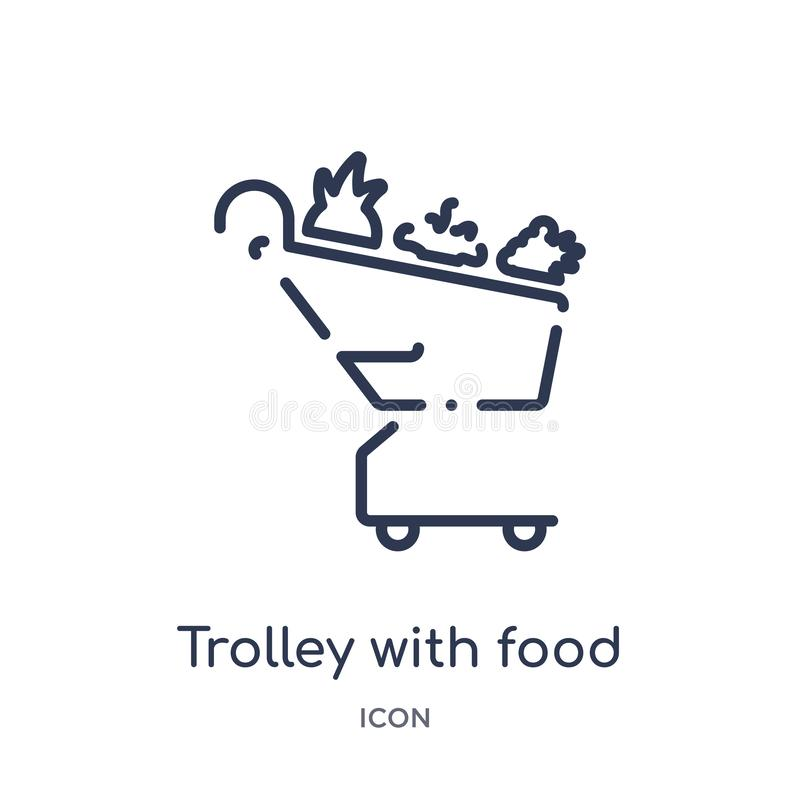 Linear trolley with food icon from Airport terminal outline collection. Thin line trolley with food vector isolated on white stock illustration