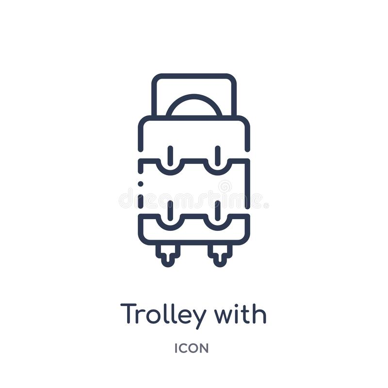 Linear trolley with luggage icon from Airport terminal outline collection. Thin line trolley with luggage vector isolated on white vector illustration