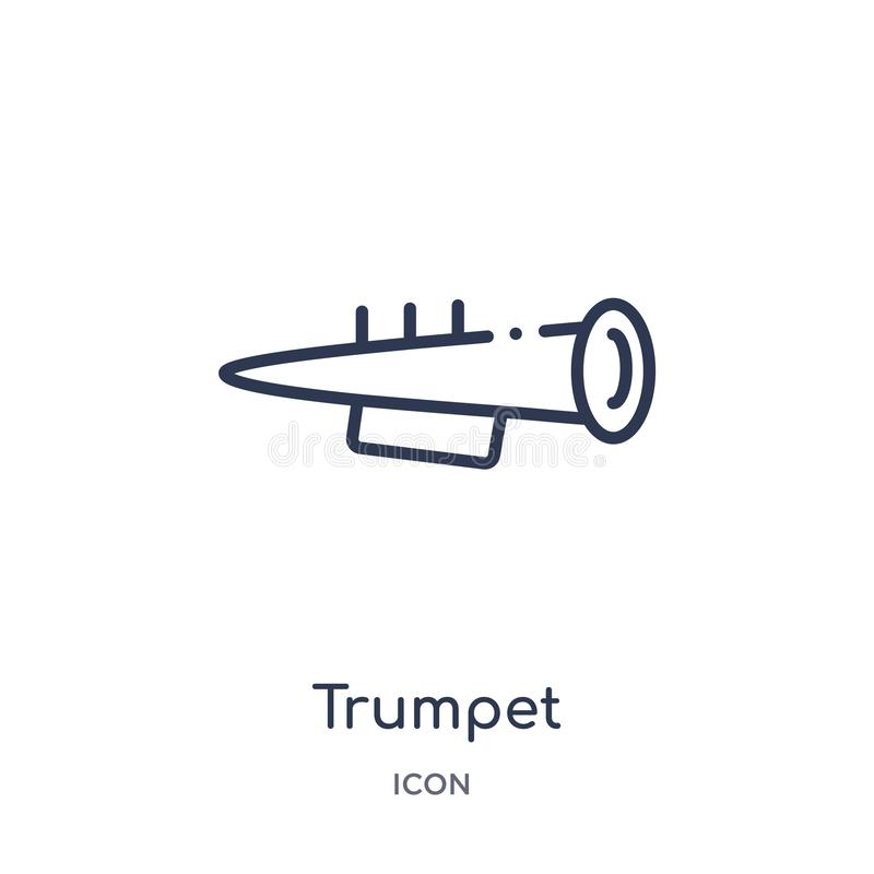 Linear trumpet icon from Brazilia outline collection. Thin line trumpet vector isolated on white background. trumpet trendy stock illustration