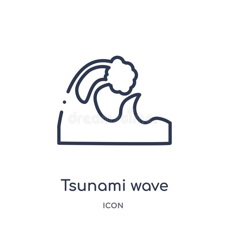 Linear tsunami wave icon from Meteorology outline collection. Thin line tsunami wave icon isolated on white background. tsunami. Wave trendy illustration royalty free illustration
