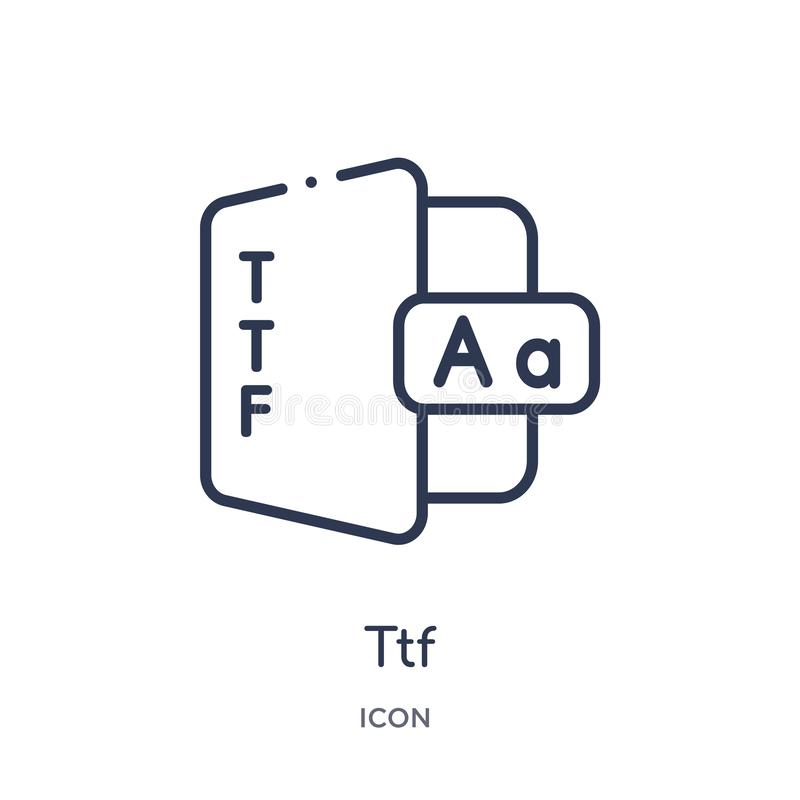Linear ttf icon from File type outline collection. Thin line ttf vector isolated on white background. ttf trendy illustration. Icon vector illustration