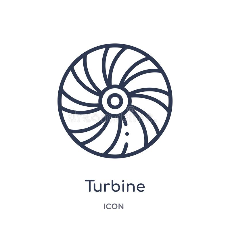 Linear turbine icon from Electronic devices outline collection. Thin line turbine vector isolated on white background. turbine vector illustration