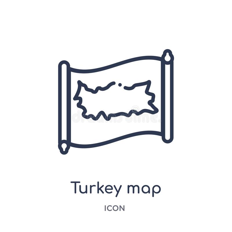 Linear turkey map icon from Countrymaps outline collection. Thin line turkey map vector isolated on white background. turkey map vector illustration
