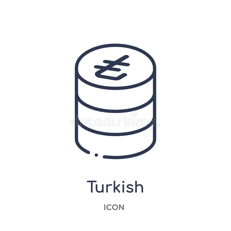 Linear turkish icon from Commerce outline collection. Thin line turkish icon isolated on white background. turkish trendy stock illustration