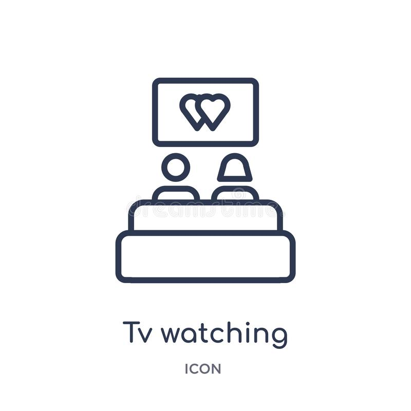Linear tv watching icon from Birthday party outline collection. Thin line tv watching vector isolated on white background. tv stock illustration