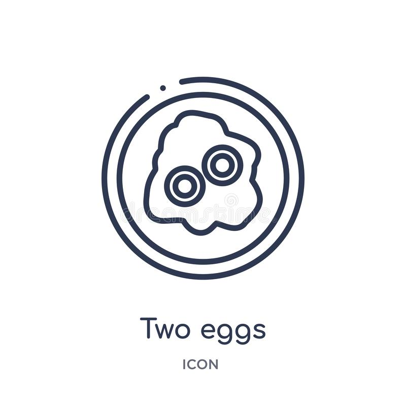 Linear two eggs icon from Food outline collection. Thin line two eggs icon isolated on white background. two eggs trendy. Illustration royalty free illustration