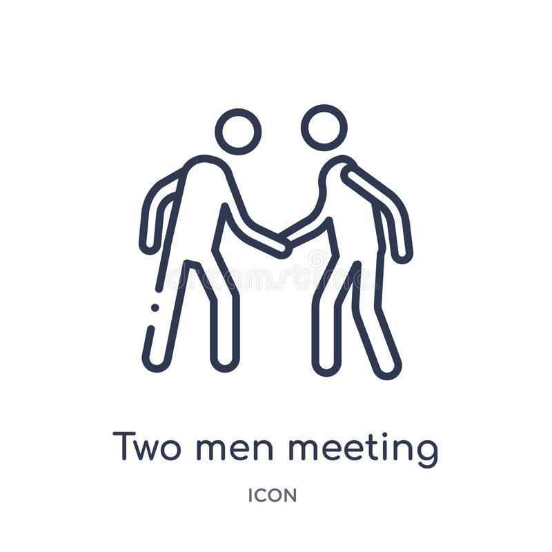 Linear two men meeting icon from Behavior outline collection. Thin line two men meeting vector isolated on white background. two stock illustration