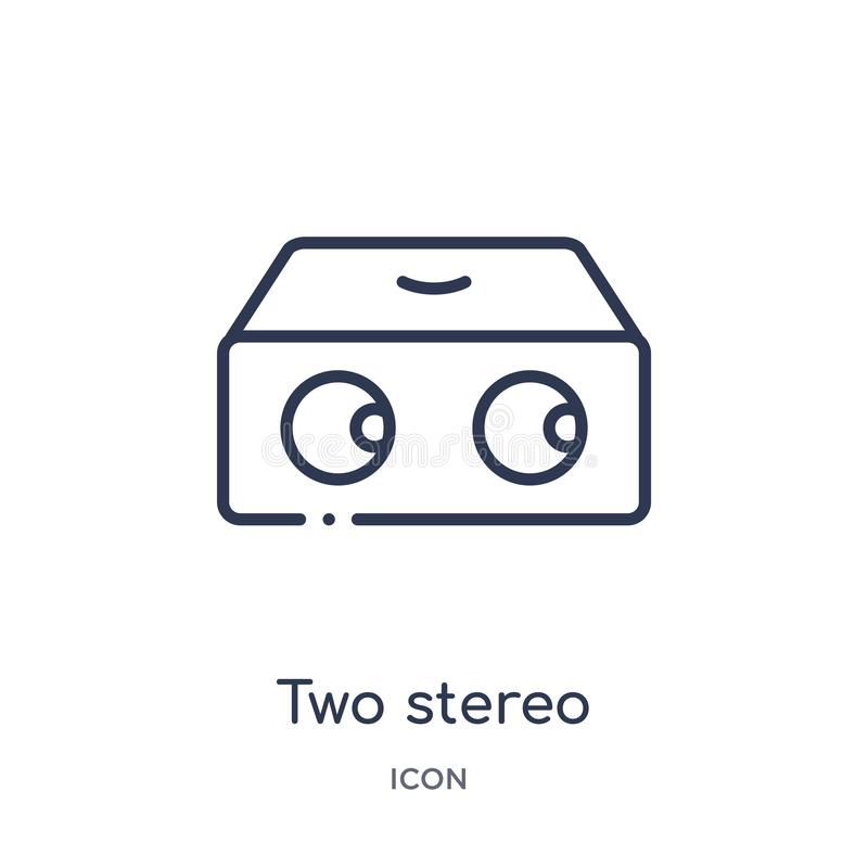 Linear two stereo speakers icon from Hardware outline collection. Thin line two stereo speakers icon isolated on white background royalty free illustration