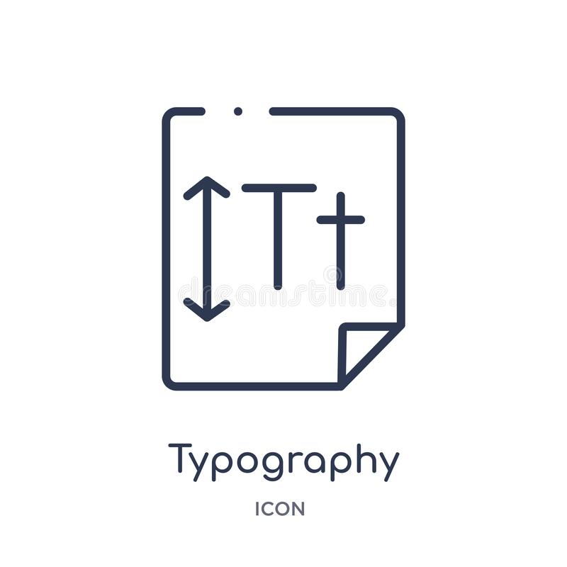 Linear typography icon from Creative process outline collection. Thin line typography vector isolated on white background. vector illustration