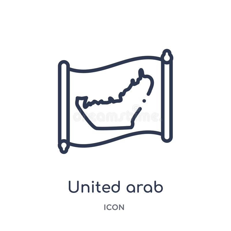 Linear united arab emirates map icon from Countrymaps outline collection. Thin line united arab emirates map vector isolated on vector illustration