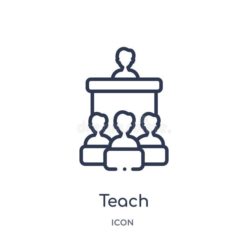 Linear unterrichten Sie Ikone von der Ausbildungsentwurfssammlung Die dünne Linie unterrichten Vektor lokalisiert auf weißem Hint vektor abbildung
