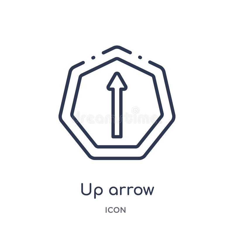 Linear up arrow icon from Arrows outline collection. Thin line up arrow vector isolated on white background. up arrow trendy stock illustration