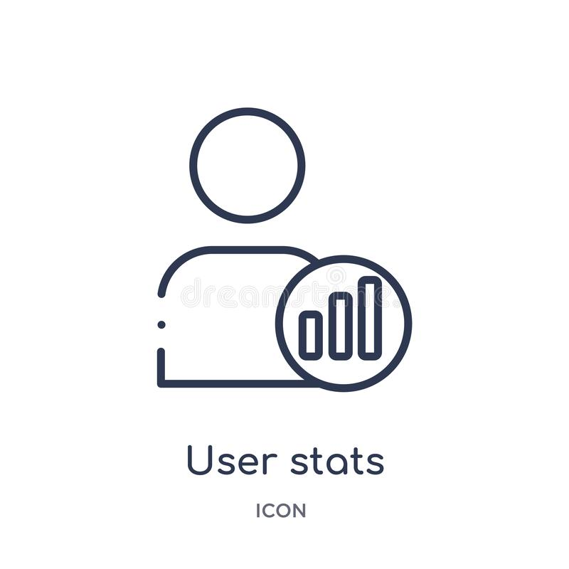 Linear user stats icon from Business and analytics outline collection. Thin line user stats vector isolated on white background. vector illustration