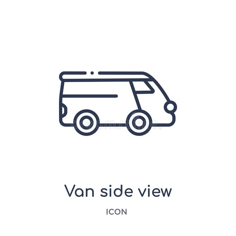 Linear van side view icon from Mechanicons outline collection. Thin line van side view icon isolated on white background. van side. View trendy illustration stock illustration