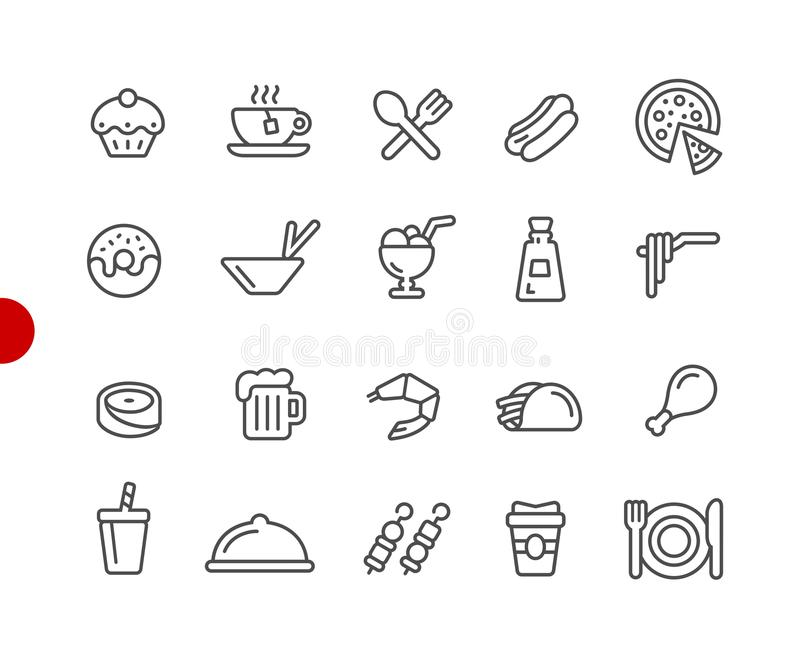 Food Icons - Set 2 of 2 // Red Point Series stock illustration