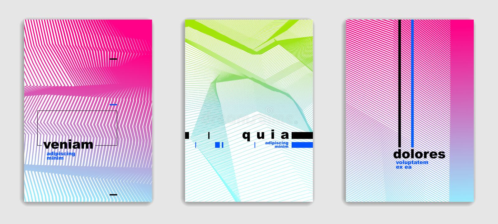 Linear vector minimal trendy brochures set design, cover templates, geometric halftone gradient. For stock illustration