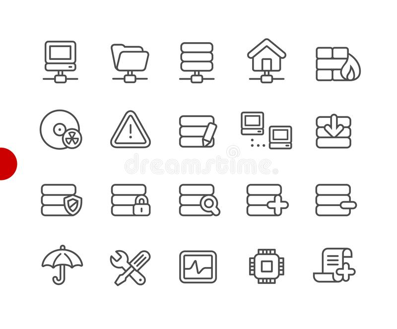 Network and Server Icons // Red Point Series royalty free illustration