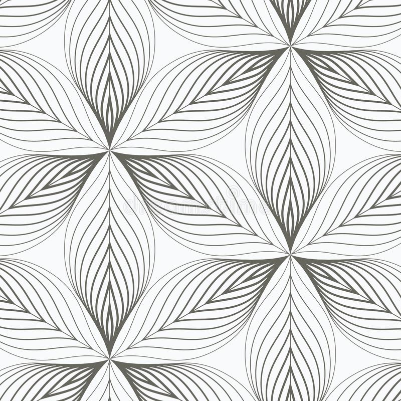 Linear vector pattern, repeating abstract a linear leaf each circling on hexagon shape. Pattern is on swatch panel vector illustration