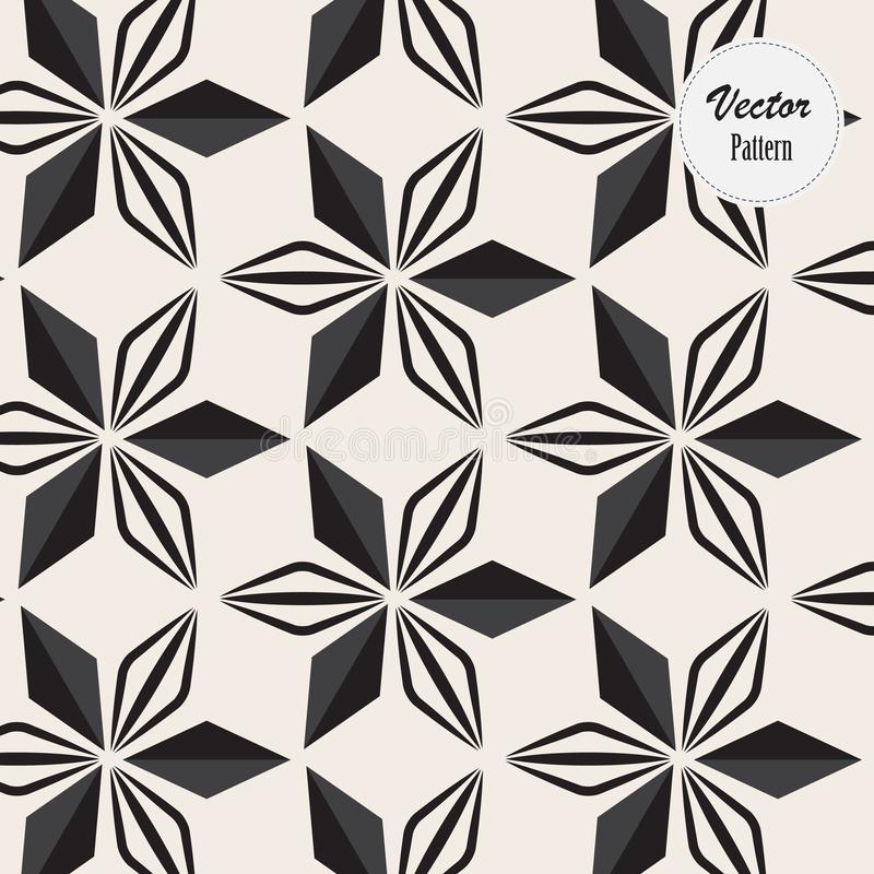 Linear vector pattern, repeating abstract a linear leaf each circling on hexagon shape. Pattern is on swatch panel stock illustration