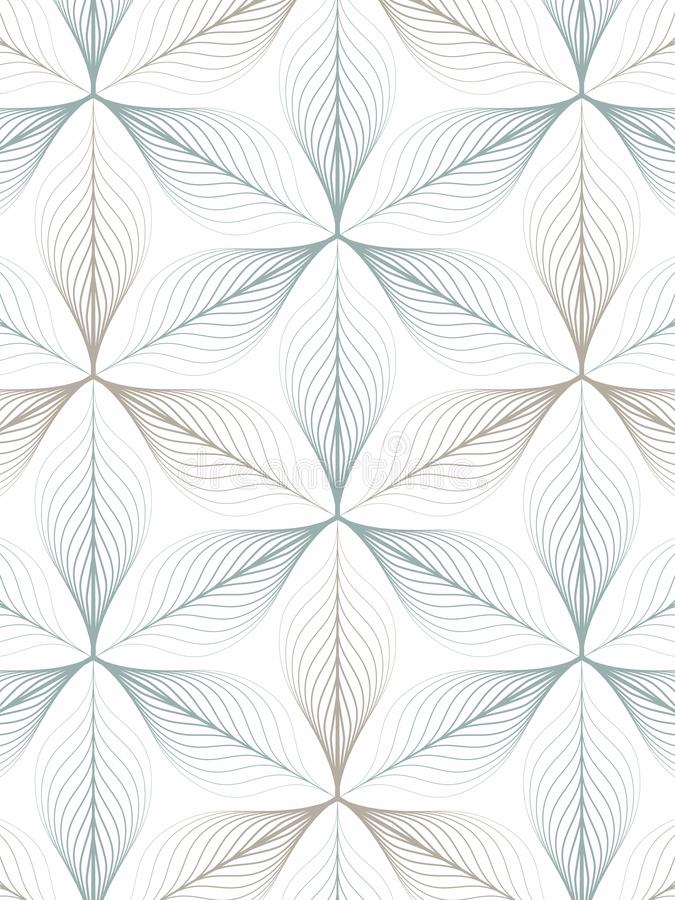 Linear vector pattern repeating abstract leaves or flower or flora in two tone color on hexagon shape. Clean design for fabric vector illustration