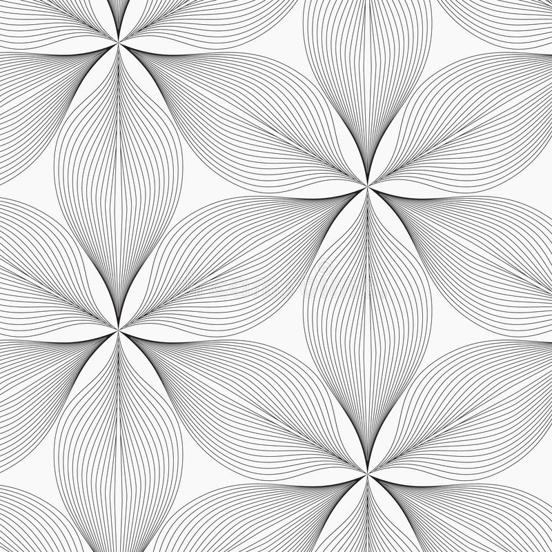 Linear vector pattern, repeating abstract leaves, gray line of leaf or flower, floral. graphic clean design for fabric, event royalty free illustration