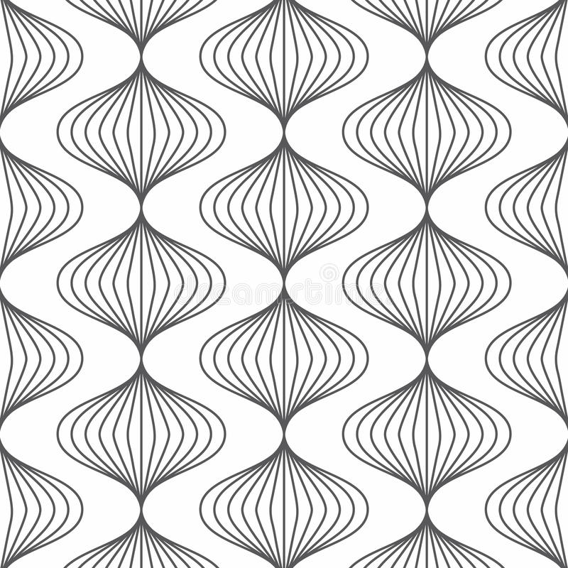 Linear vector pattern, repeating linear abstract leaves on garland. vector illustration