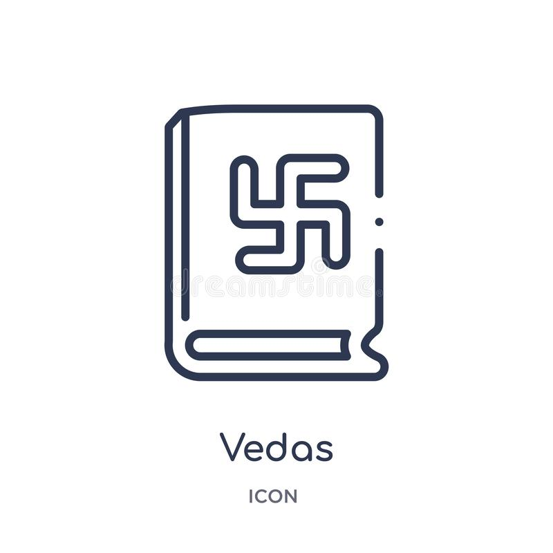 Linear vedas icon from India outline collection. Thin line vedas icon isolated on white background. vedas trendy illustration vector illustration
