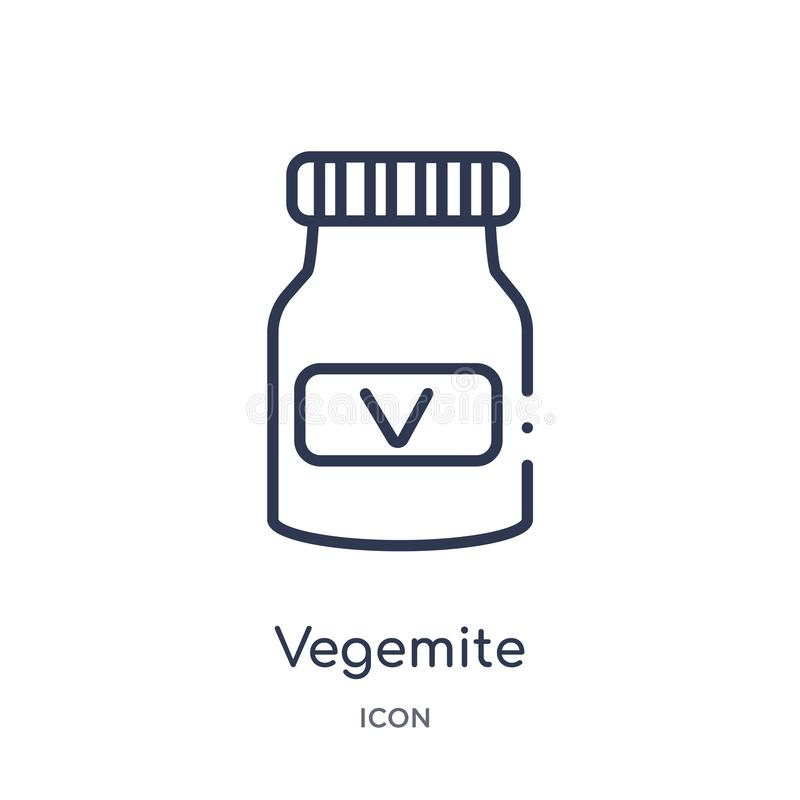 Linear vegemite icon from Culture outline collection. Thin line vegemite vector isolated on white background. vegemite trendy royalty free illustration