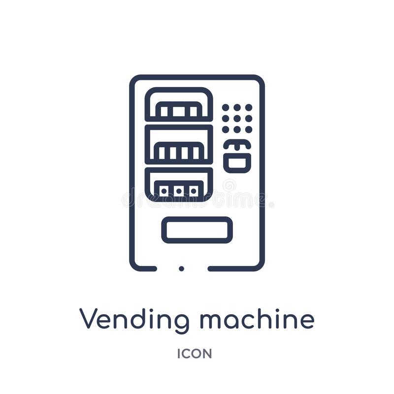 Linear vending machine icon from Hotel and restaurant outline collection. Thin line vending machine icon isolated on white stock illustration