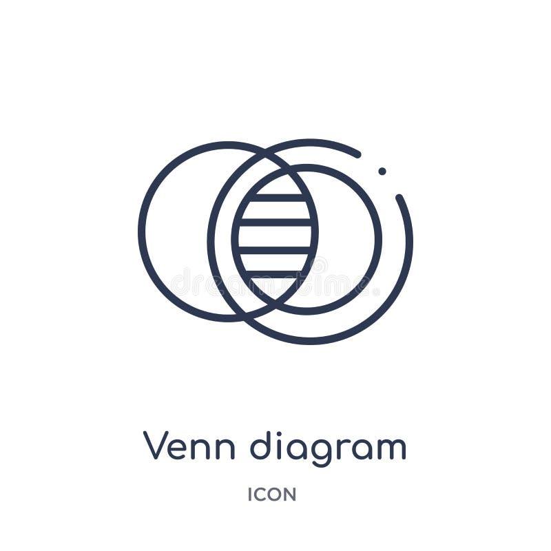 Linear venn diagram icon from Analytics outline collection. Thin line venn diagram vector isolated on white background. venn vector illustration