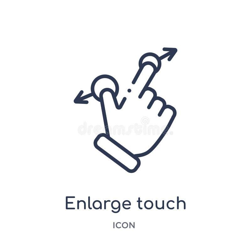Linear vergrößern Sie Touch Screen Gestenikone von den Händen und von der guestures Entwurfssammlung Dünne Linie vergrößern Touch lizenzfreie abbildung